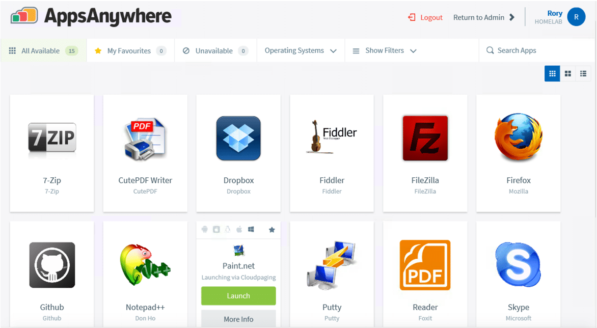 AppsAnywhere Dashboard