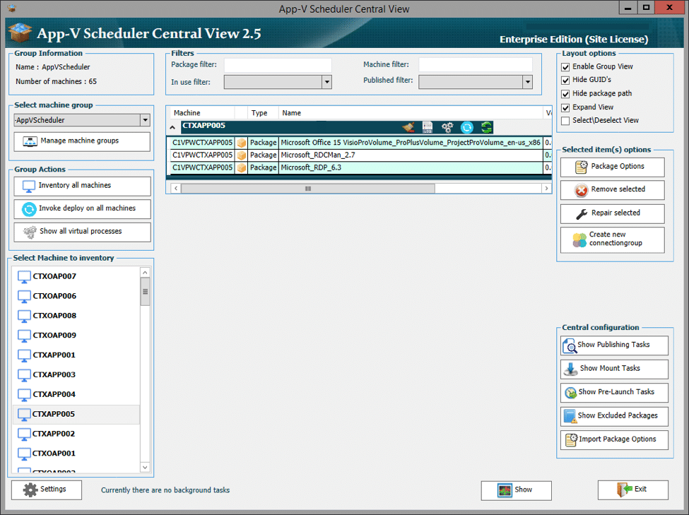 App-V scheduler central view