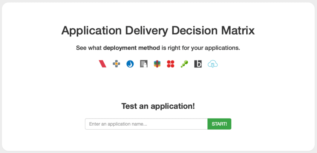 Application Delivery Decision Matrix first question