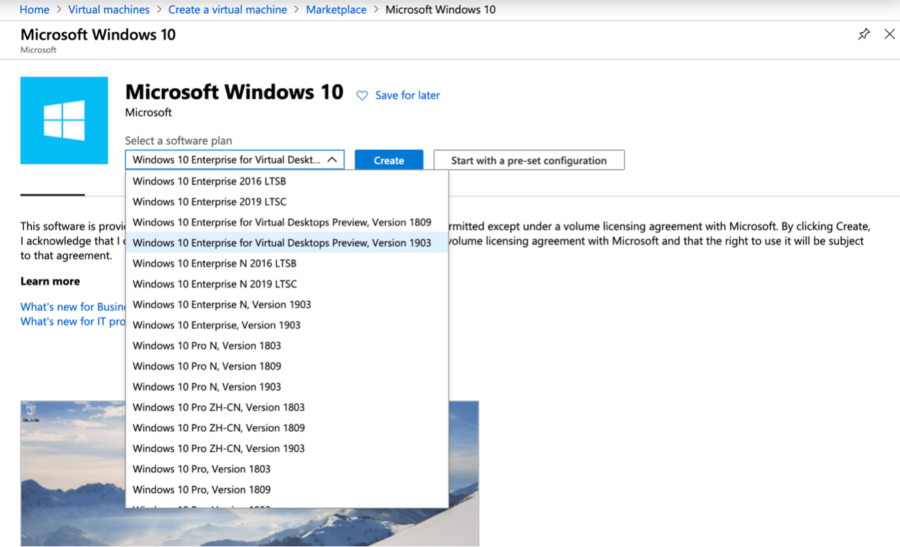 Windows 10 Enterprise for Virtual Desktops