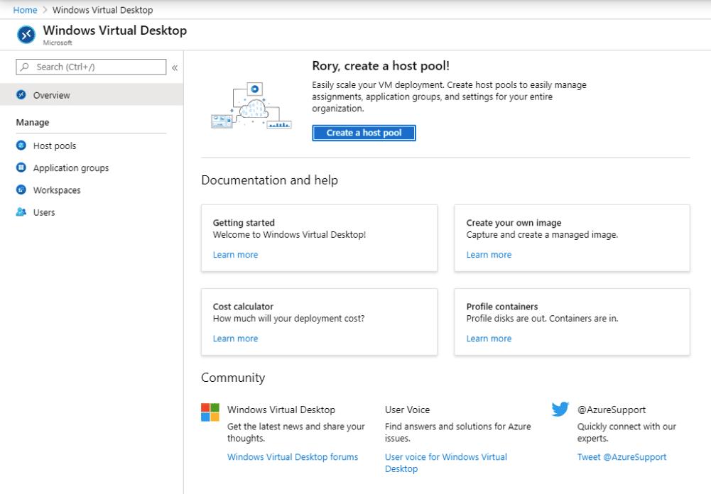 WIndows Virtual Desktop Management