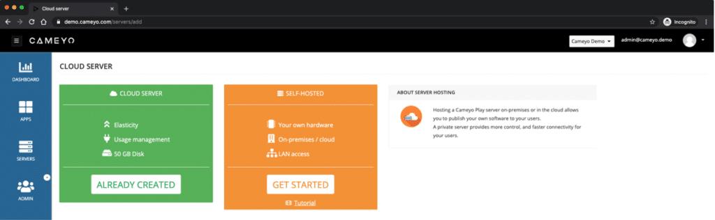 Cameyo cloud server